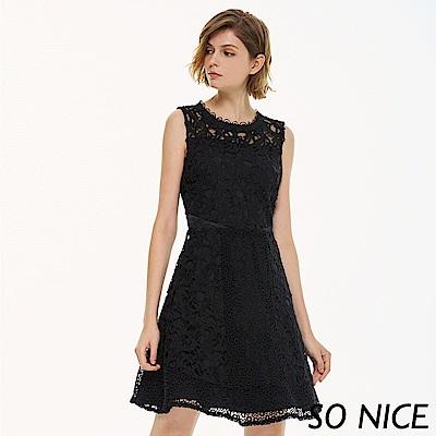 SO NICE優雅鏤空蕾絲洋裝