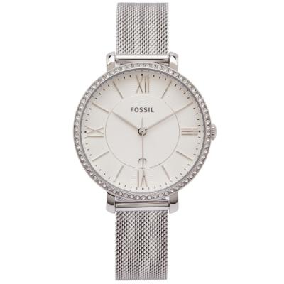 FOSSIL 鑽鑲優雅風米蘭帶錶帶手錶(ES4627)-白面X銀色/36mm