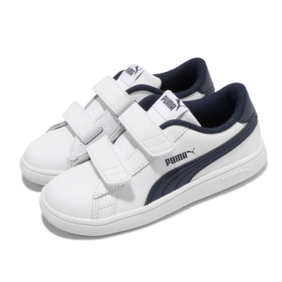 Puma 休閒鞋 Smash v2 L V Inf 童鞋 魔鬼氈 皮革鞋面 穿搭推薦 小童 白 藍 36517404