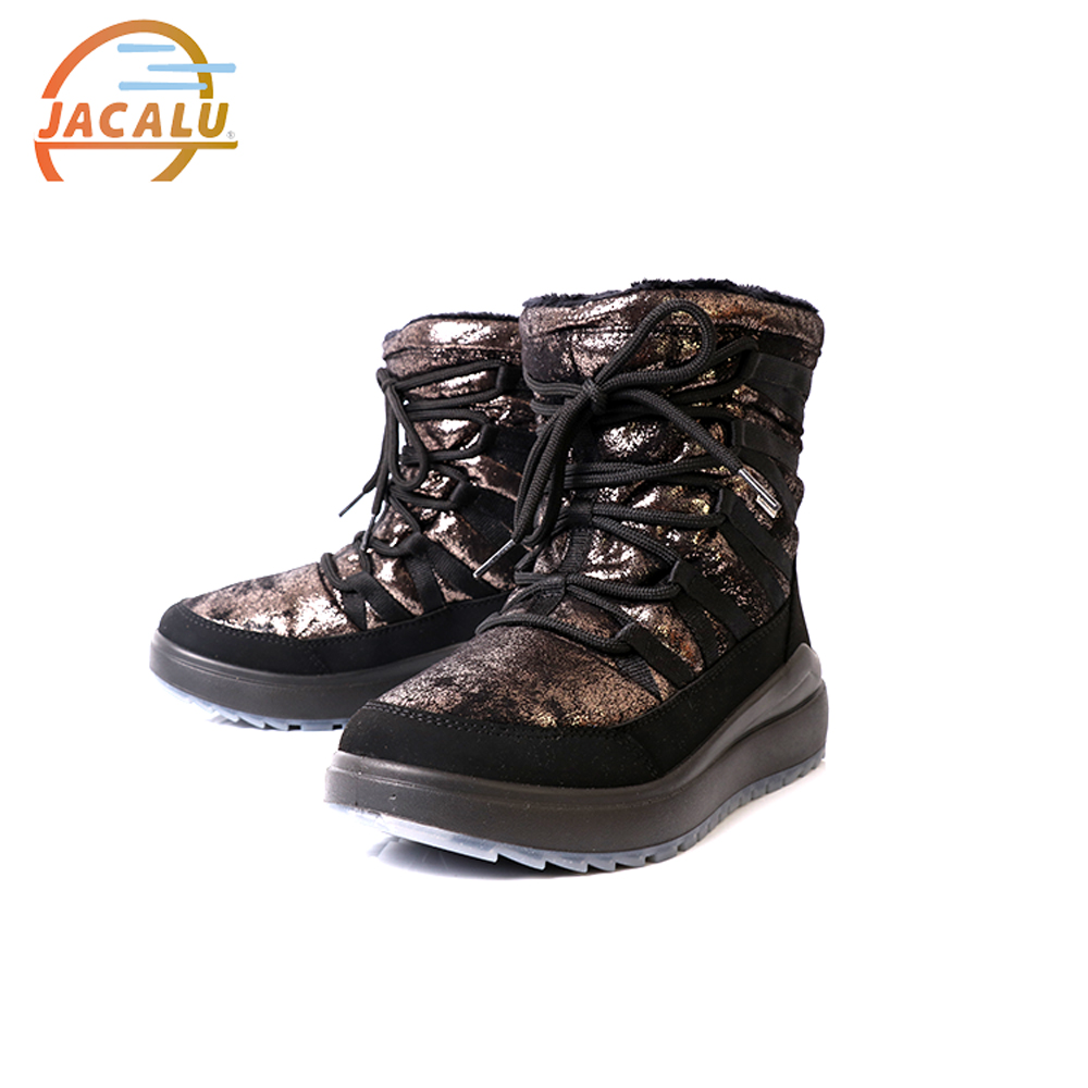 Jacalu 中筒亮面麂皮織帶雪靴6331.2/J 黑色