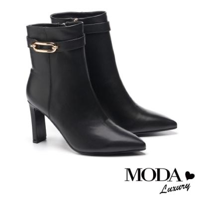 短靴 MODA Luxury 高雅品格金色釦帶牛皮尖頭高跟短靴-黑