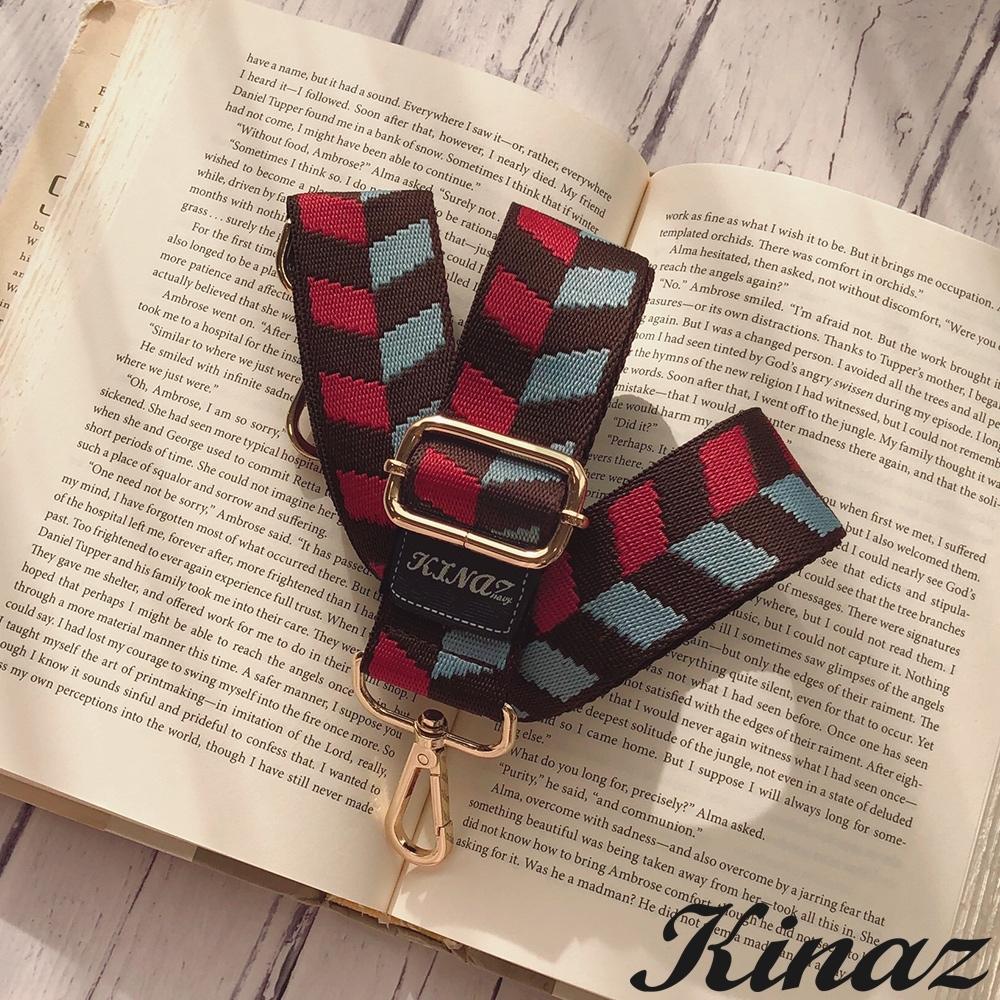KINAZ 箭頭圖騰品牌質感寬版背帶-焦糖摩卡-帶我走系列