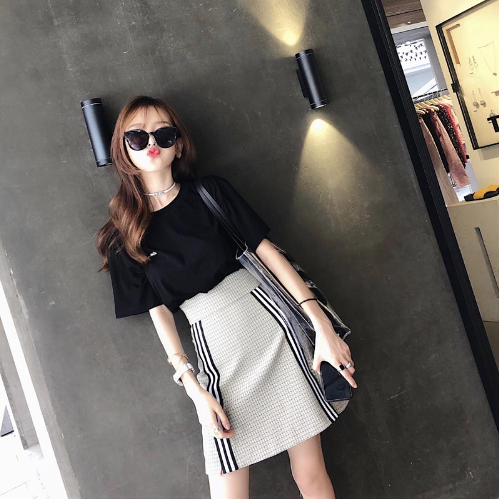 DABI 韓系復古寬鬆上衣側條紋格子裙套裝短袖裙裝