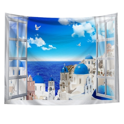 半島良品 北歐風裝飾掛布-窗景系列/窗景-愛情海 150x130cm