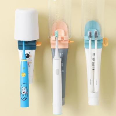 [荷生活]日式多功能擠牙膏器牙刷掛架漱口杯架