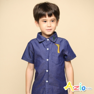 Azio 男童 上衣 口袋長頸鹿葉子刺繡牛仔短袖襯衫(深藍)
