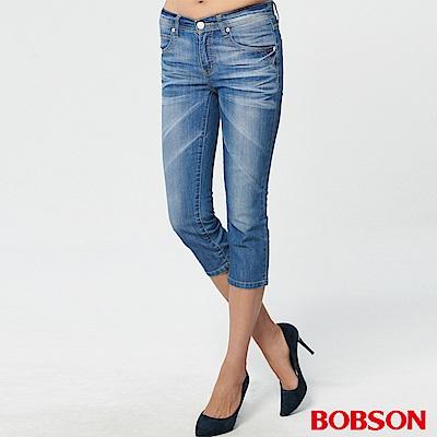 BOBSON 女款低腰刷銀漿牛仔七分褲