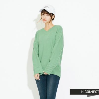 H:CONNECT 韓國品牌 女裝 - 百搭素面針織上衣 - 綠
