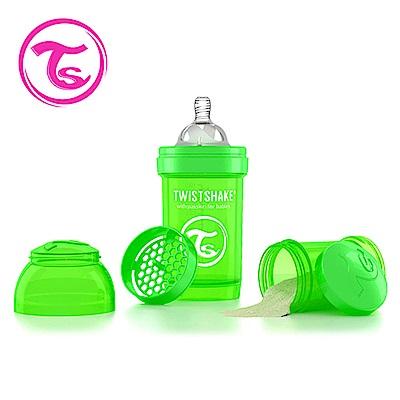 Twistshake 瑞典時尚 彩虹奶瓶/防脹氣奶瓶180ml/奶嘴口徑0.3mm-蘋果綠