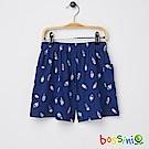 bossini女童-素色寬版短褲02藍