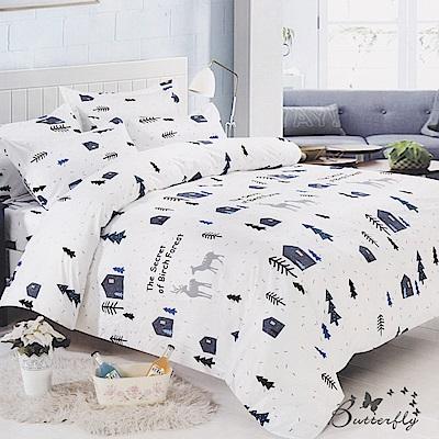 BUTTERFLY-台灣製造柔絲絨-特大6x7薄式床包枕套三件式-森林庄園