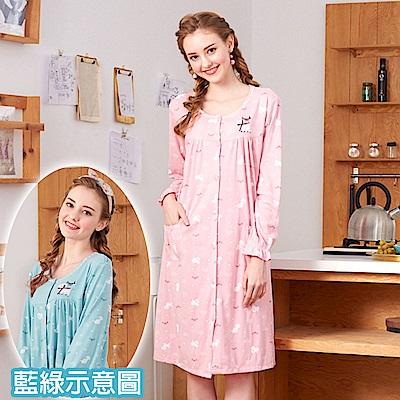 睡衣 貴賓小狗 針織棉長袖連身睡衣(R75209-4藍綠色) 蕾妮塔塔