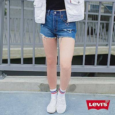 Levis 女款 501 高腰排釦牛仔短褲 破壞