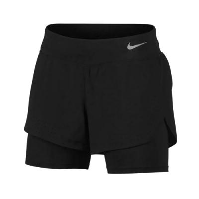 Nike 短褲 Running Shorts 女款 二合一 短褲 內搭 路跑 慢跑 暗袋 黑 銀 AQ5421010