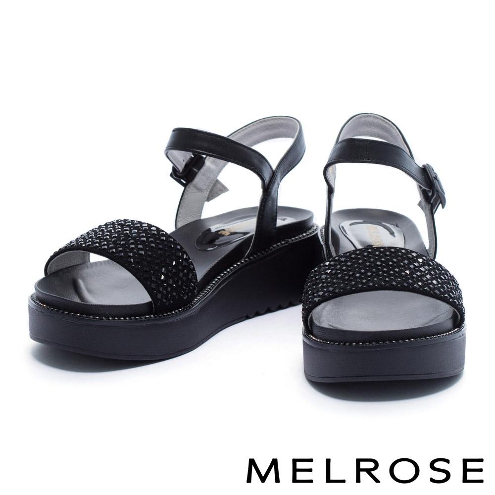 涼鞋 MELROSE 細緻亮澤晶鑽寬版一字帶厚底涼鞋-黑