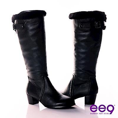 ee9 深森女騎~小牛皮綿羊毛基本款長筒靴~帥勁黑