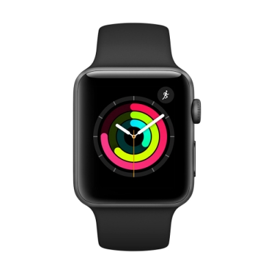 Apple Watch Series 3 GPS 42mm太空色鋁金屬錶殼+黑色運動錶帶