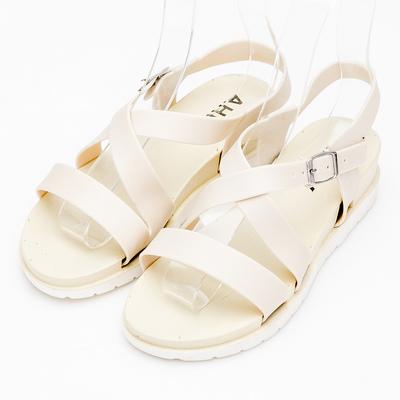 River&Moon防水鞋-簡約交叉內增高羅馬涼鞋-米