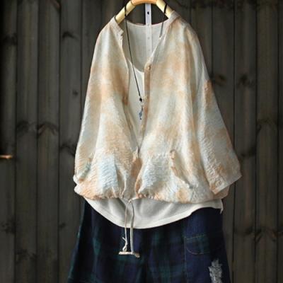 浸在顏色裡的美扎染襯衫七分袖輕薄防曬衣-設計所在