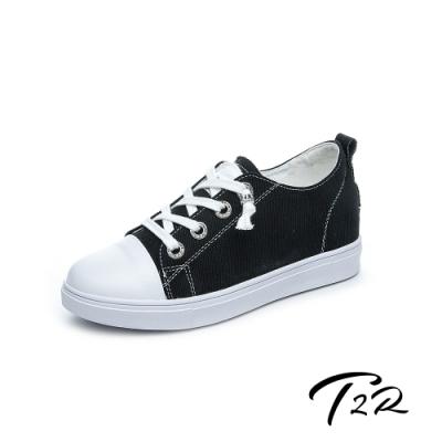 T2R-正韓空運-增高鞋真皮鞋帆布鞋小白鞋-增高6公分-帆布黑