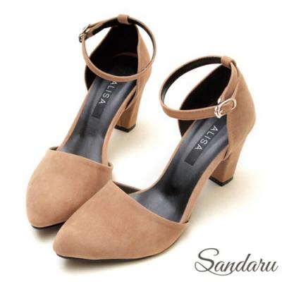 山打努SANDARU-顯瘦細絨尖頭高跟瑪莉珍鞋-棕