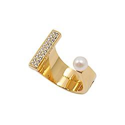 VITA FEDE義大利時尚珠寶精品 玫瑰金珍珠鑲鑽U型戒指