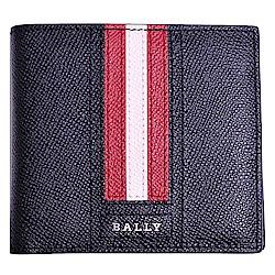 BALLY TRASAI 金屬品牌字母LOGO 紅白條紋八卡短夾(黑)