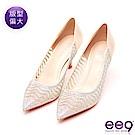 ee9 名媛氣息奢華透膚鑲嵌亮鑽Royal Style跟鞋 金色