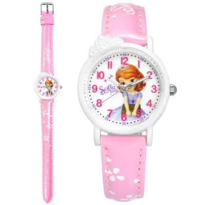Disney 迪士尼 小公主蘇菲亞 皇冠造型 兒童 卡通 亮面皮革手錶-白x粉/28mm