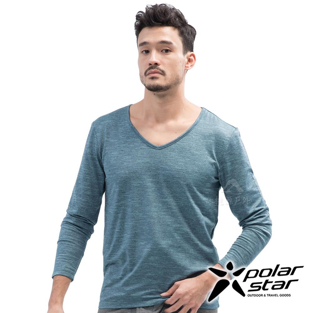 PolarStar 男 遠紅外線V領保暖衣『灰藍』 P18227