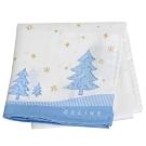 CELINE 繽紛品牌LOGO圖騰聖誕氣氛手帕巾(白/水藍邊)