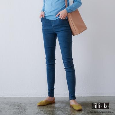 JILLI-KO 彈力顯瘦內加絨牛仔褲- 藍色