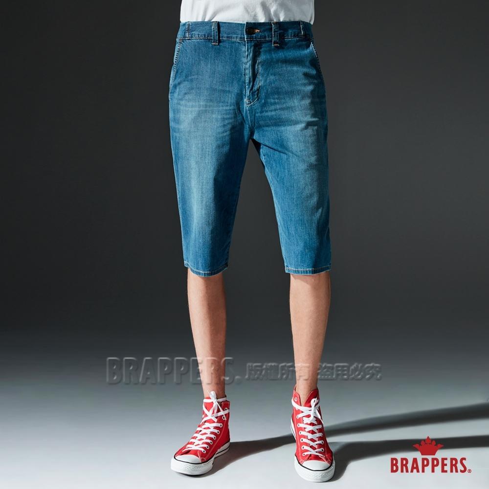 BRAPPERS 男款 HG-高腰系列-彈性牛仔休閒五分褲-藍