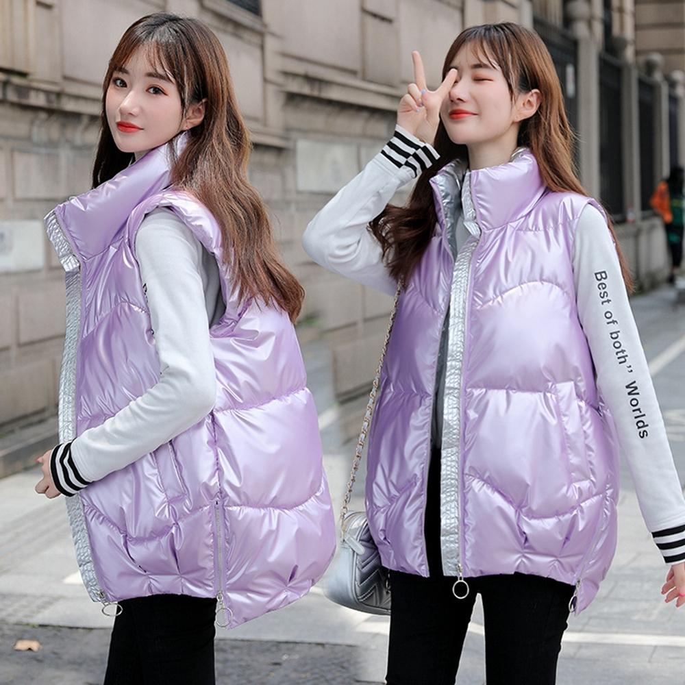 時尚帥氣立領亮面羽絨棉背心外套L-3XL(共六色)-WHATDAY (紫粉色)