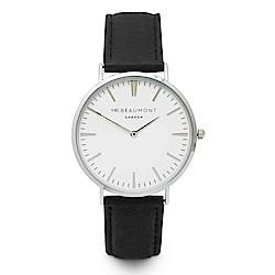 Elie Beaumont 英國時尚手錶 牛津系列 白錶盤x黑色皮革錶帶x銀錶框41mm