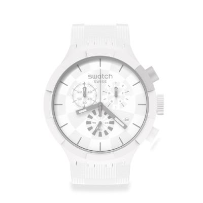SWATCH BIG BOLD系列手錶CHEQUERED WHITE 白色時空(47mm)