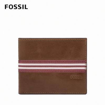 FOSSIL Jared 真皮線條零錢袋皮夾 男短夾-棕色 ML4334210