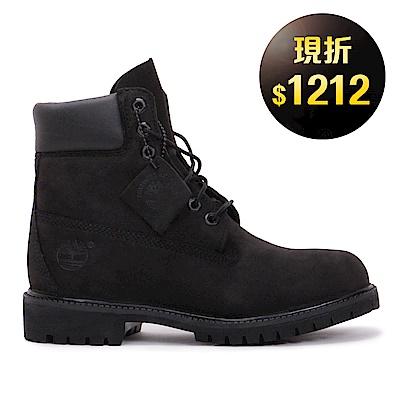 Timberland-男款黑色素面防水中筒靴
