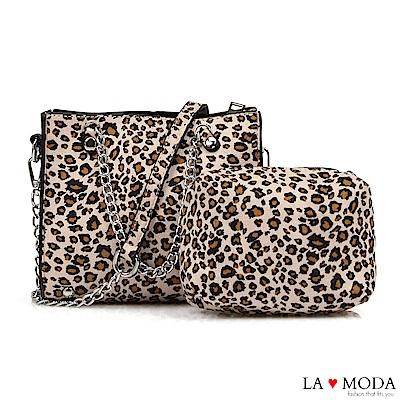 La Moda 性感時尚大容量豹紋肩背斜背子母鏈帶包(米白豹紋)