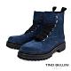 Tino Bellini西班牙進口亮眼全真皮綁帶工程短靴_藍 product thumbnail 1