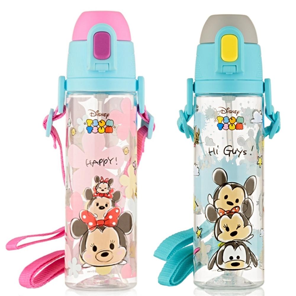 【優貝選】大容量 迪士尼TSUM TSUM系列 兒童背帶吸管水壺 580ML