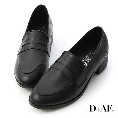 D+AF 文學氣質.經典款木紋跟樂福鞋*黑