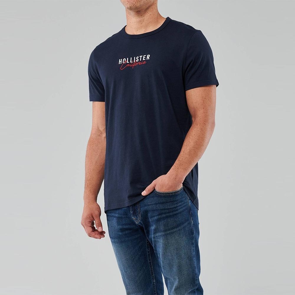 海鷗 Hollister 經典刺繡文字短袖圖案T恤-深藍色