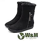 W&M 絨布刷毛雪靴 中筒靴 女鞋 - 黑 (另有灰咖)
