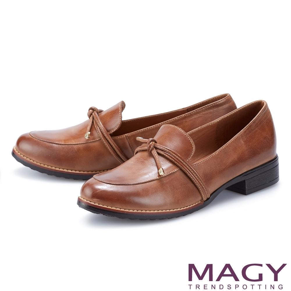 MAGY 文青蠟感真皮樂福 女 低跟鞋 棕色