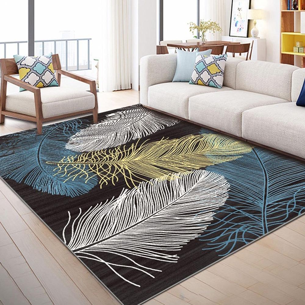【收納職人】現代簡約輕奢北歐ins風地毯/床邊毯/茶几毯_羽毛淺色