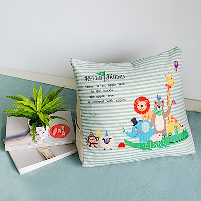 【收納職人】Zakka日系雜貨風棉麻織紋舒壓三角抱枕/靠枕/腿枕(條紋動物園)