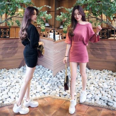 DoMiss韓國兩件套裝 寬鬆上衣+短裙(2色)