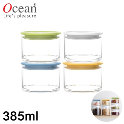 OCEAN NORMA系列儲物/儲存玻璃真空罐385ML-四入/組
