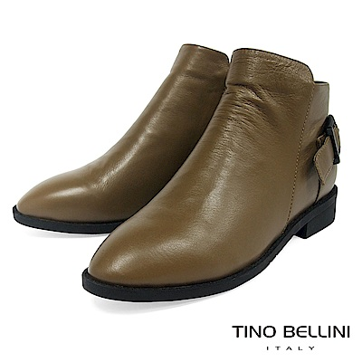 Tino Bellini 真皮純色元素單釦帶低跟短靴 _ 駝
